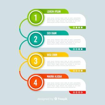 Estilo plano colorido de la plantilla de pasos de infografía