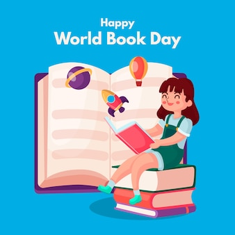 Estilo plano del día mundial del libro
