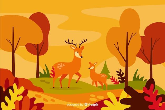 Estilo plano de fondo decorativo de otoño