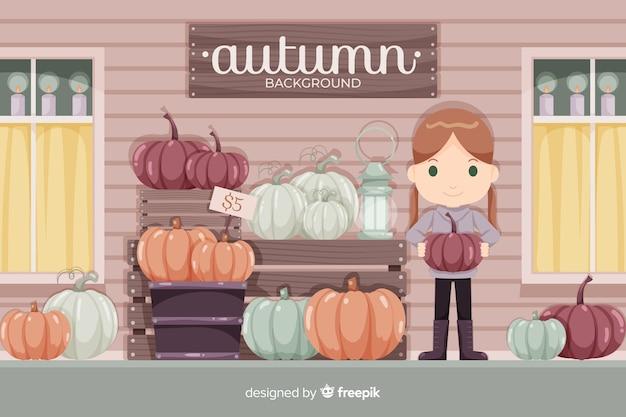 Estilo plano de fondo de niña otoño