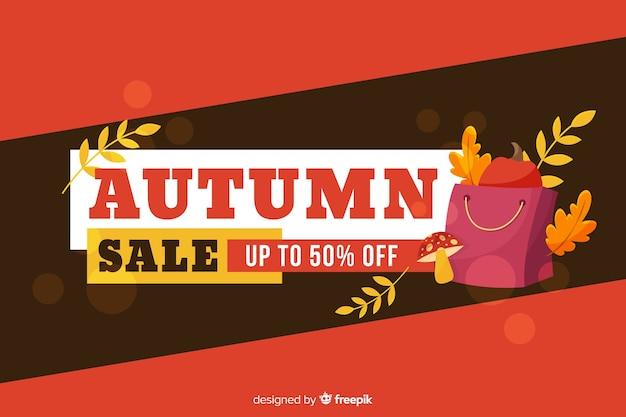 Estilo plano de fondo de ventas de otoño