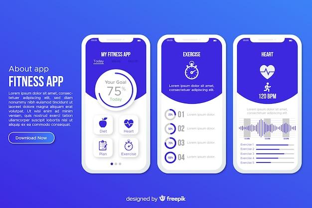 Estilo plano de plantilla de infografía de aplicación móvil de fitness