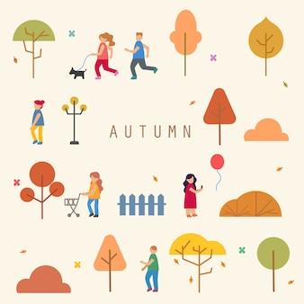 Estilo plano de la temporada de otoño