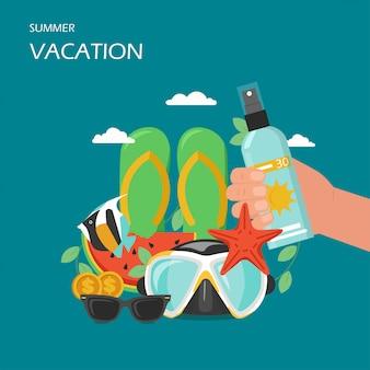 Estilo plano de vacaciones de verano