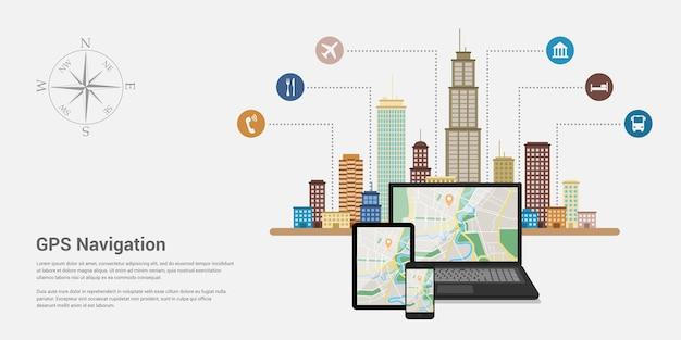 Estilo de plantilla de banner web para sitio web o infografía, sistema gps de navegación móvil, ubicación de destino, localización y encontrar el camino correcto.