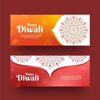 Estilo de plantilla de banners horizontales de diwali