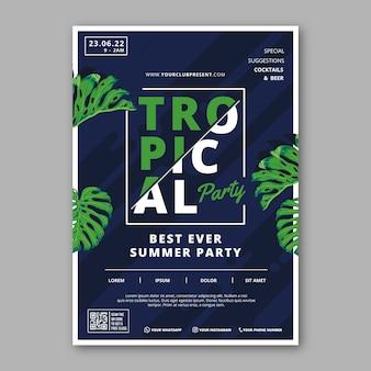Estilo de plantilla de cartel de fiesta tropical