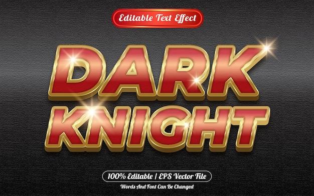 Estilo de plantilla de efecto de texto editable de caballero oscuro