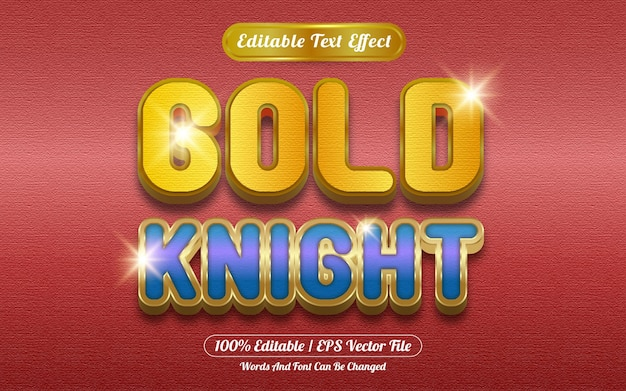Estilo de plantilla de efecto de texto editable de golden knight