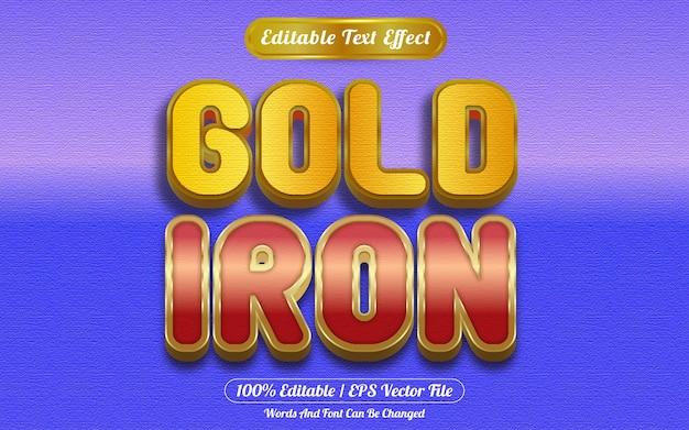 Estilo de plantilla de efecto de texto editable de hierro dorado