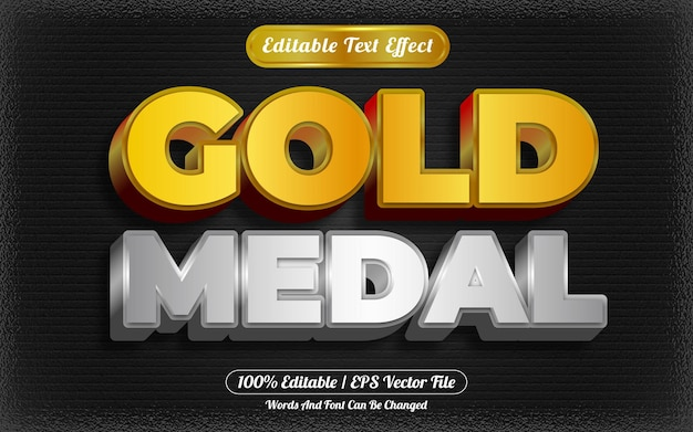 Estilo de plantilla de efecto de texto editable de medalla de oro