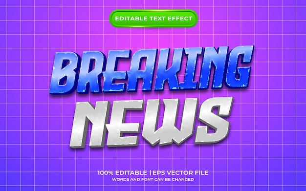 Estilo de plantilla de efecto de texto de noticias de última hora