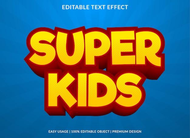 Estilo de plantilla de efecto de texto super kids