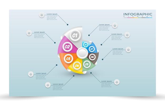 Estilo de plantilla de infografía de 8 pasos