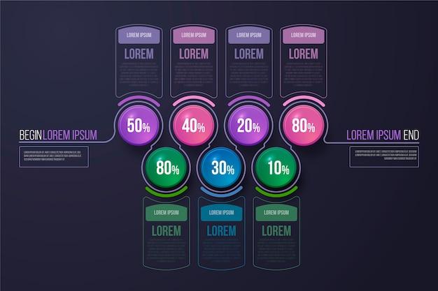Estilo de plantilla de infografía brillante 3d