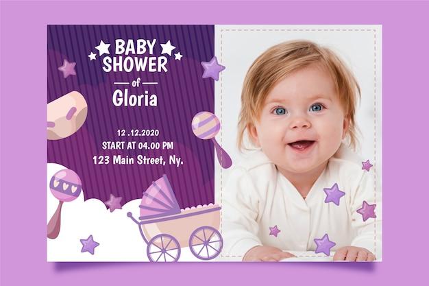 Estilo de plantilla de invitación de ducha de bebé niña