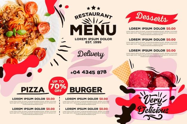 Estilo de plantilla de menú de restaurante digital
