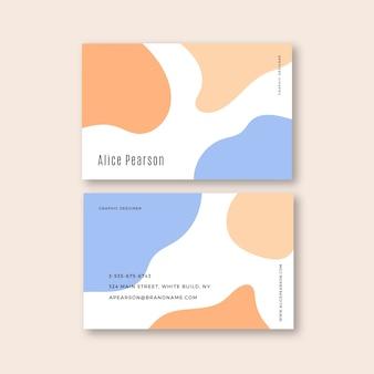 Estilo de plantilla de tarjeta de visita con manchas de color pastel