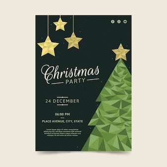 Estilo poligonal del cartel verde del árbol de navidad