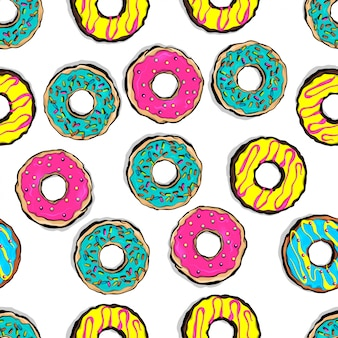 Estilo pop art esmaltado color donut de patrones sin fisuras