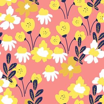 Estilo pop floral de patrones sin fisuras