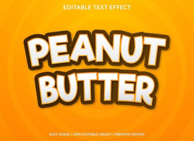 Estilo premium de plantilla de efecto de texto de mantequilla de maní