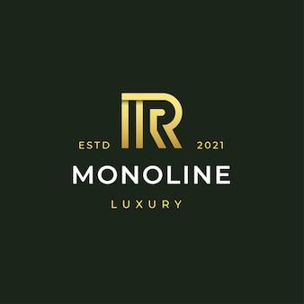 Estilo de rayas de línea de ilustración de icono de logotipo moderno letra r