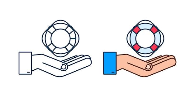 Estilo realista, aro salvavidas en manos sobre fondo blanco. ilustración de stock vectorial.