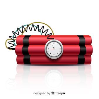 Estilo realista de bomba de tiempo rojo