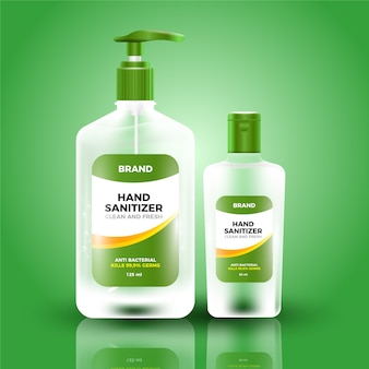 Estilo realista de desinfectante para manos