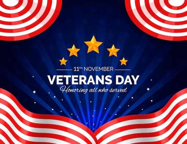 Estilo realista del día de los veteranos con estrellas.