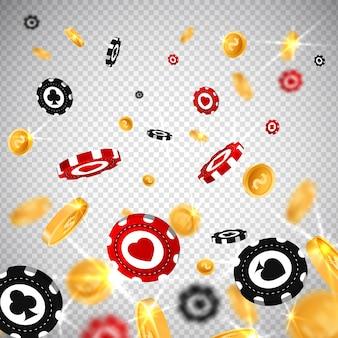 Estilo realista de las fichas de póker 3d