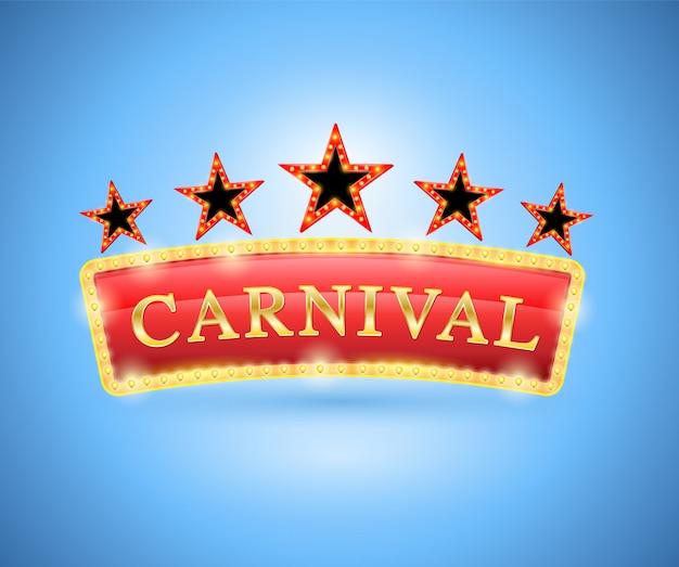 Estilo retro de banner de carnaval con cinco estrellas