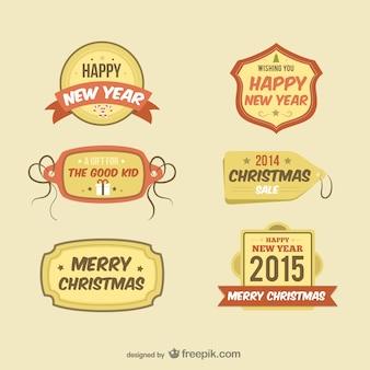 Estilo retro etiquetas de navidad