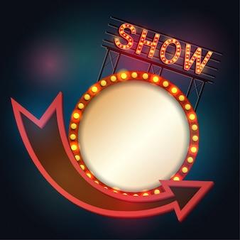 Estilo retro del letrero de showtime con el marco ligero
