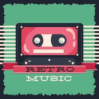 Estilo retro de música con diseño de ilustración de vector de cassette