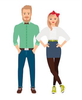 Estilo retro vestido de pareja de moda. ilustración vectorial