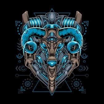 Estilo robótico mecha de cabra con geometría sagrada