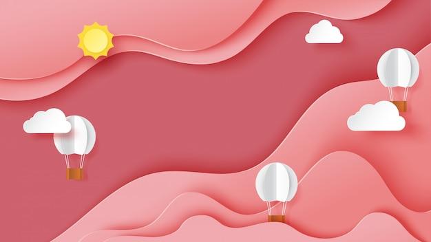 Estilo rosado abstracto del arte del papel de la plantilla del fondo del paisaje del cielo