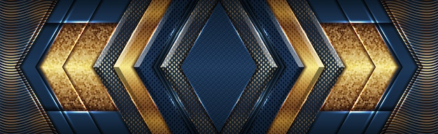 Estilo de superposición de forma de oro azul abstracto oscuro de lujo moderno