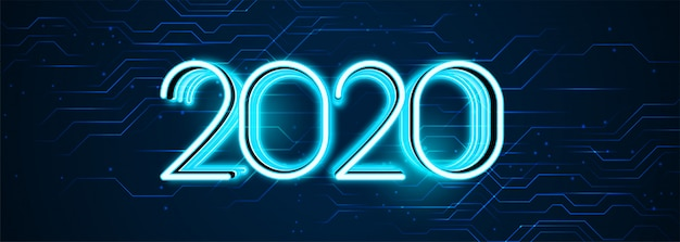 Estilo de tecnología feliz año nuevo 2020 banner