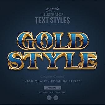 Estilo de texto azul dorado