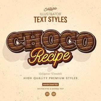 Estilo de texto de chocolate