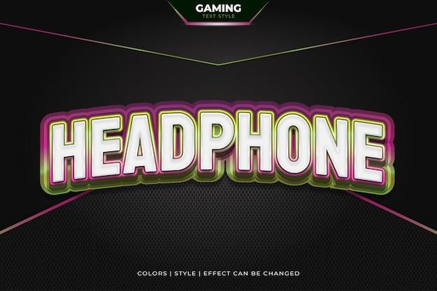 Estilo de texto colorido en 3d con efectos en relieve y curvos para la identidad del equipo de juego.