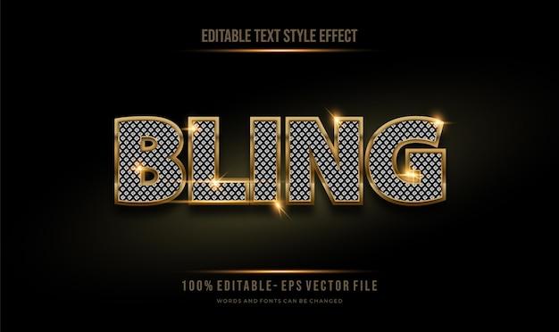 Estilo de texto de diamante editable moderno efecto dorado y brillo brillante. estilo de fuente editable.