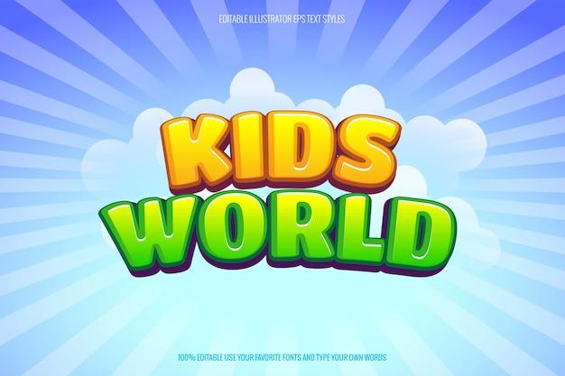 Estilo de texto de dibujos animados para niños tema