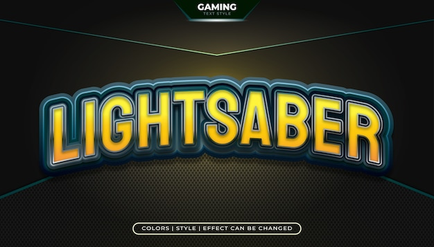 Estilo de texto editable en azul y amarillo con efecto curvo para identidades de equipos de deportes electrónicos o logotipos de juegos
