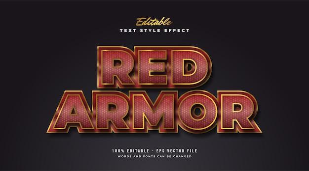 Estilo de texto elegante y llamativo en rojo y dorado con textura y efecto de relieve