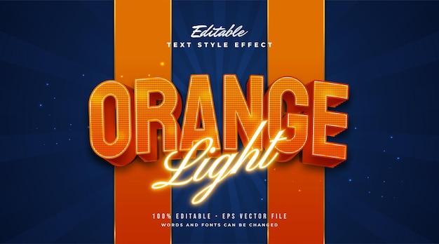 Estilo de texto de luz naranja con neón brillante y efectos en relieve. efecto de estilo de texto editable