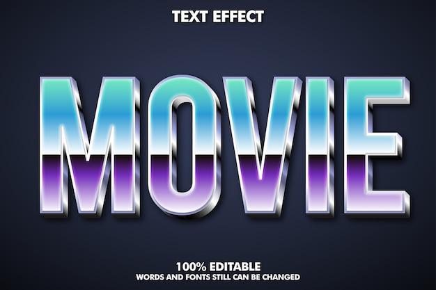 Estilo de texto de película moderno con contorno brillante